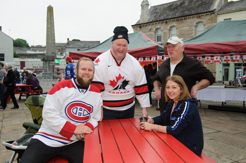 At the Monaghan Canada Day celebrations were (L-R) Patrick Armitage, Brian Clerkin, Peter Clerkin and Zoe Armitage. ©Rory Geary/The Northern Standard