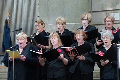"""Members of the Oriel Singers signing """"O Canada"""" during their performance at the Monaghan Canada Day celebrations. ©Rory Geary/The Northern Standard"""