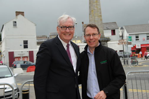 Martin McVicar from CombiLift with Canadian Ambassador to Ireland Kevin Vickers, at the Monaghan Canada Day celebrations. ©Rory Geary/The Northern Standard