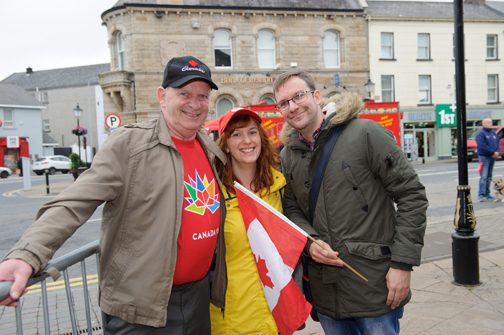 At the Monaghan Canada Day celebrations were (L-R) Brian Rice, Martina Rice and Fergal Rice. ©Rory Geary/The Northern Standard