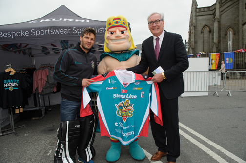 At the Monaghan Canada day celebrations was Canadian Ambassador to Ireland Kevin Vickers was Adam O'Keefe, coach / player with the Belfast Giants and their mascot Finn McCool. ©Rory Geary/The Northern Standard