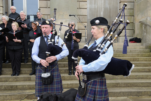 Brian and Lorna Morgan from the O'Neill Pipe Band, Clontibret, playing the bagpipes at the Monaghan Canada Day celebrations. ©Rory Geary/The Northern Standard
