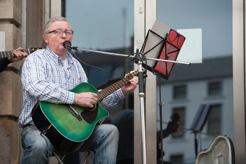 Packie McDonald from the MOPOSOG's group singing at the Monaghan Canada Day celebrations. ©Rory Geary/The Northern Standard