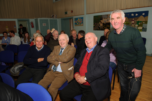 At the talk in St Patrick's Hall were (L-R) Rodger Cowan, Danny Aughey, Ownie Treanor and Enda Galligan, who gave the talk. ©Rory Geary/The Northern Standard