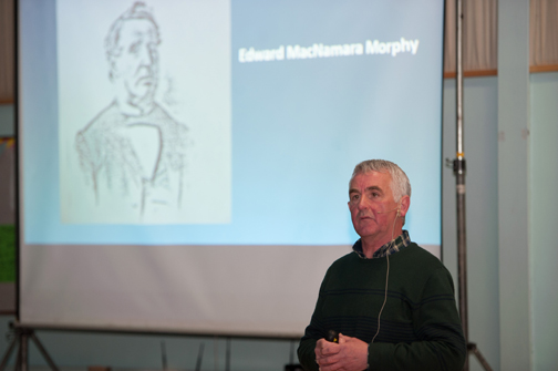"""Enda Galligan speaking at his talk """"From MacNamara Place Monaghan to Yonge St, Toronto"""" at St Patrick's Hall. ©Rory Geary/The Northern Standard"""