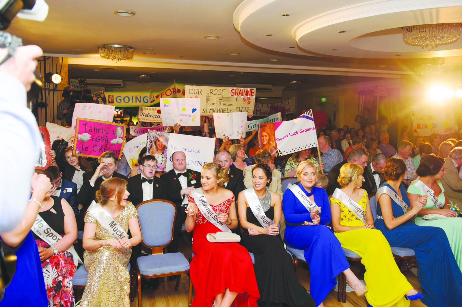 Some of the banners of support on display at the Monaghan Rose of Tralee selection night in The Four Seasons Hotel, Monaghan. ©Rory Geary/The Northern Standard