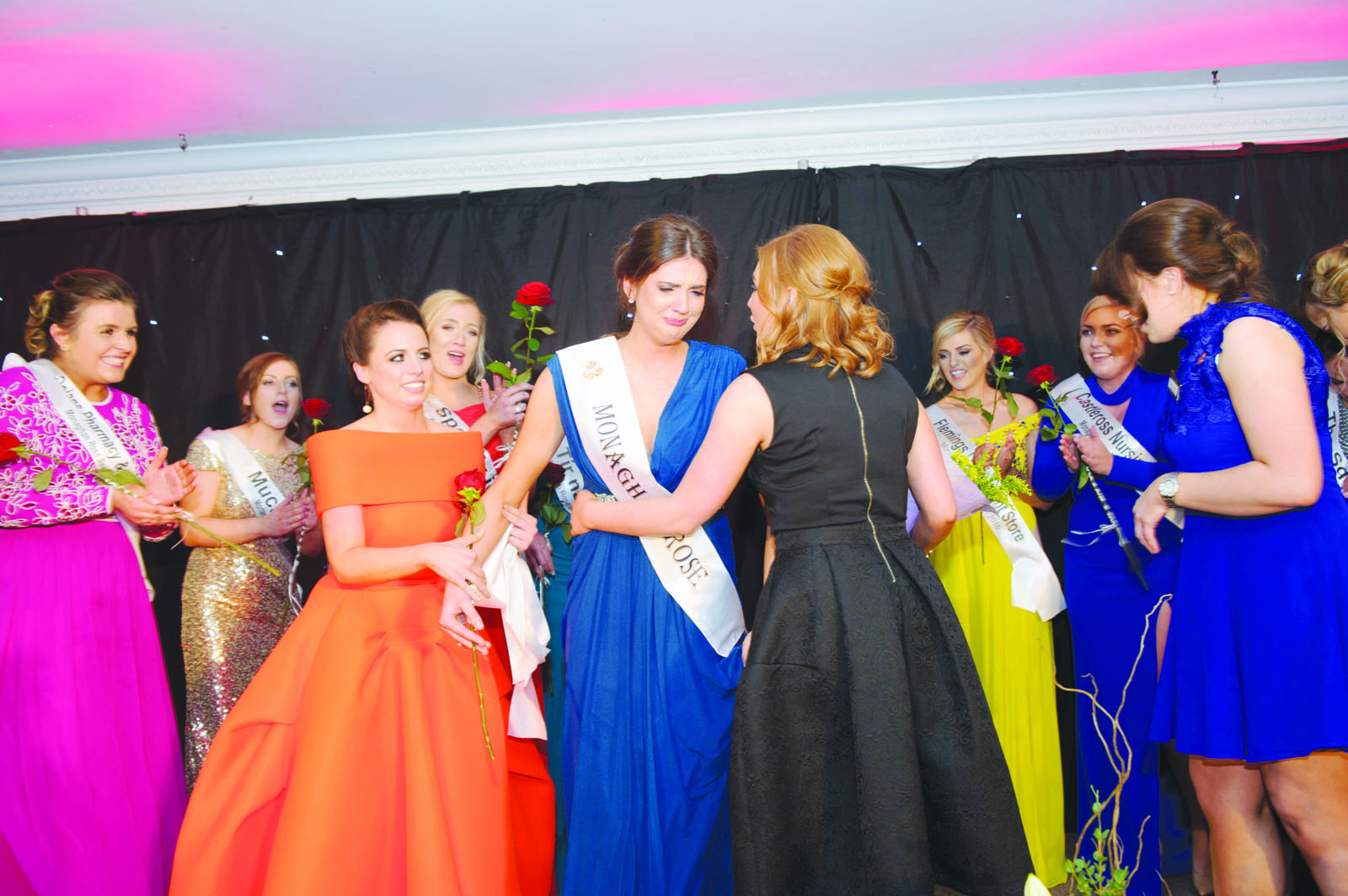 Pamela Allen, centre, being congratulated on being selected at the 2016 Monaghan Rose. ©Rory Geary/The Northern Standard