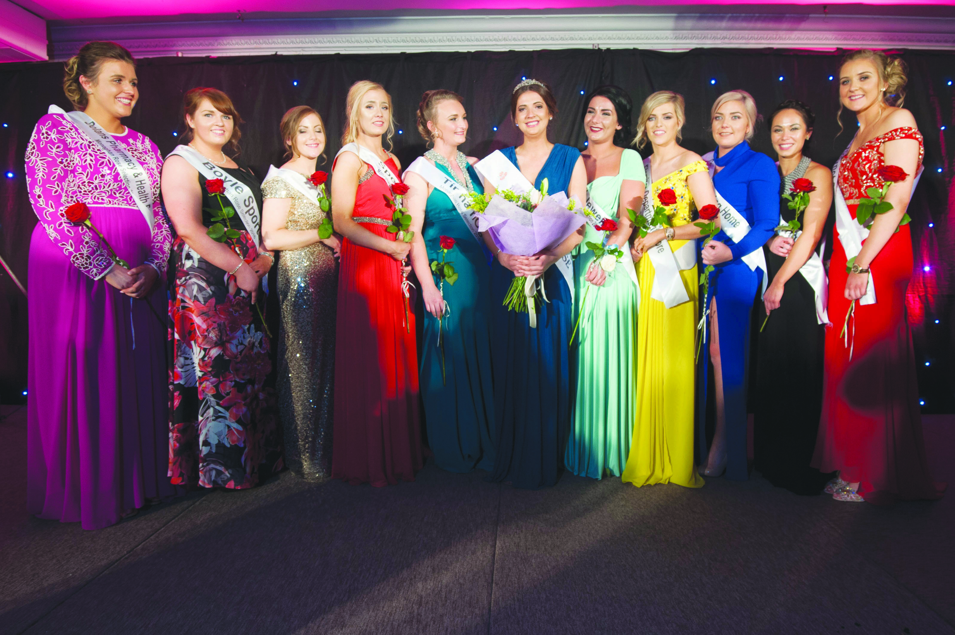 Pamela Allen, centre, 2016 Monaghan Rose, with the other girls that took part in the selection. Included are (L-R) Grainne O'Connor, Cáit Beggan, Alexandra Lowry, Nicole O'Reilly, Elaine McKernan, Pamela Allen, Rebecca Duffy, Shauna Bell, Naomi Hutchinson, Eimear Galligan and Sinead McCarey. ©Rory Geary/The Northern Standard