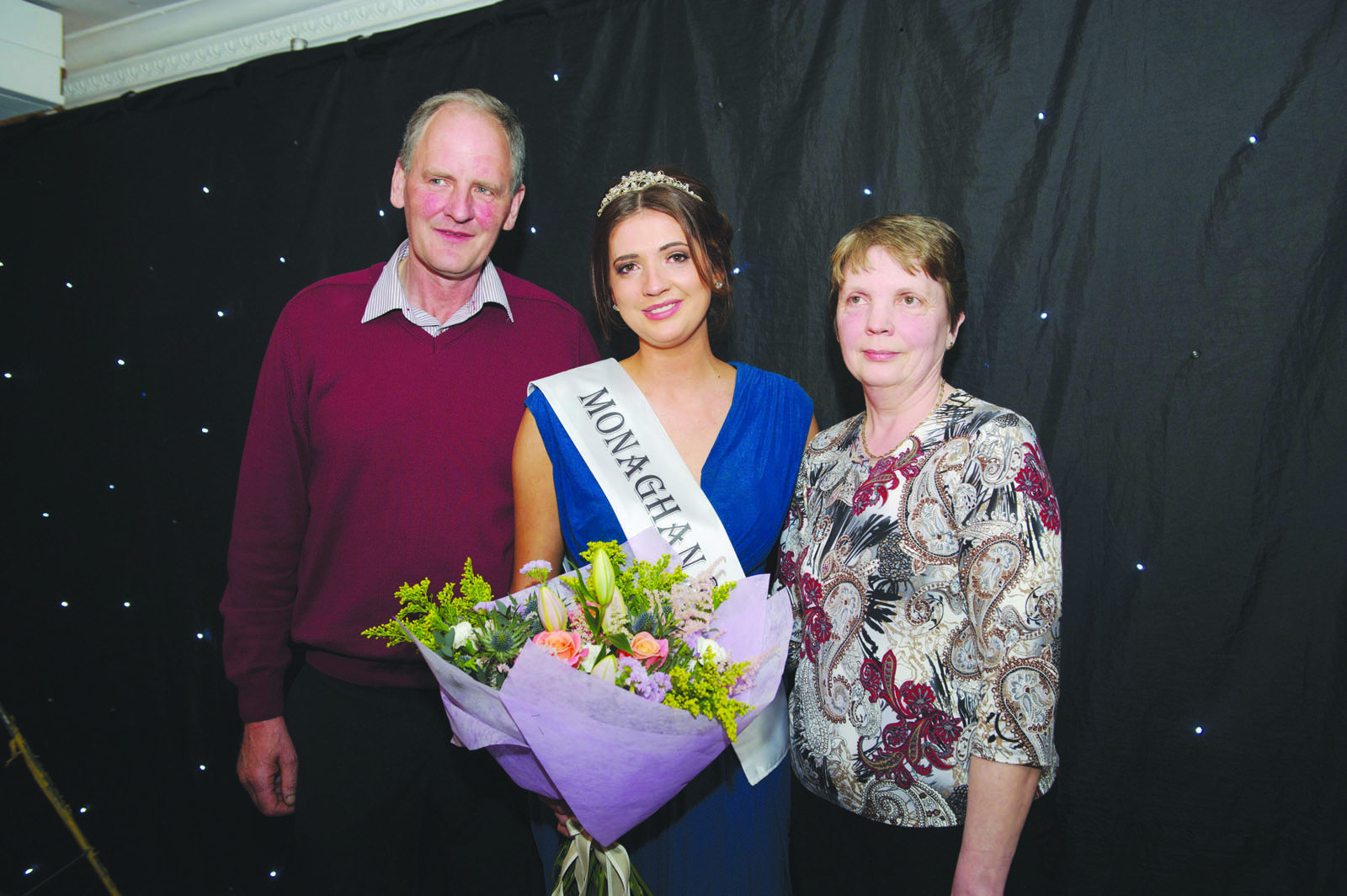 Pamela Allen, centre, 2016 Monaghan Rose, with her parents Jim and Iris Allen, at the Monaghan Rose Selection night in The Four Seasons Hotel, Monaghan. ©Rory Geary/The Northern Standard