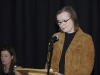 Liz Leonard, student guest speaker, speaking at the graduation function in The Garage Theatre. ©Rory Geary/The Northern Standard