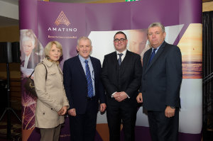 Amatino AIB Brexit Breakfast Briefing  At the Amatino AIB Brexit Breakfast Briefing that was held in The Hillgrove Hotel on Wednesday morning were some of the speakers at the event, which was co-hosted by Amatino Partners and AIB. Included in the photo are (L-R) Doreen and Wilfred Carleton, Carleton Cakes, Barry Kieran, Amatino Partners and Eoin O'Neill, President of the British Irish Chamber of Commerce. ©Rory Geary/The Northern Standard