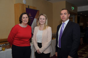 Ann Finnegan, AIB, Emma Moore, IAB and John Fahy, AIB, at the Amatino AIB Brexit Breakfast Briefing in The Hillgrove Hotel. ©Rory Geary/The Northern Standard