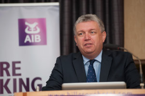 Eoin O'Neill, President of the Irish British Chamber of Commerce, speaking at the Amatino AIB Brexit Breakfast Briefing in The Hillgrove Hotel. ©Rory Geary/The Northern Standard