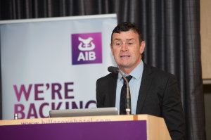 Aidan Gough, InterTrade Ireland, speaking at the Amatino AIB Brexit Breakfast Briefing in The Hillgrove Hotel. ©Rory Geary/The Northern Standard