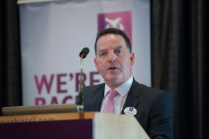 Paddy Whyte, AIB, speaking at the Amatino AIB Brexit Breakfast Briefing in The Hillgrove Hotel. ©Rory Geary/The Northern Standard