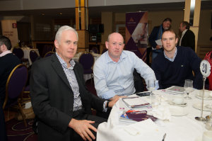 Pictured at the Amatino AIB Brexit Breakfast Briefing in The Hillgrove Hotel were (L-R) Andrew McKeever, NET 1 Ltd, David McArdle and Gerard McArdle, DG McArdle Transport. ©Rory Geary/The Northern Standard