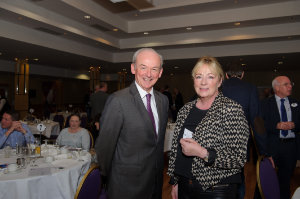 Tony Walker, The Slieve Russell Hotel, with Catherine McQuaid, Tatty Design, at the Amatino AIB Brexit Breakfast Briefing in The Hillgrove Hotel. ©Rory Geary/The Northern Standard