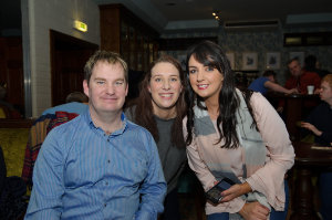 Paul McKenna with Makaela Murphy and Lisa McGlade, at the Monaghan Arch Club party. ©Rory Geary/The Northern Standard