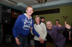 At the Monaghan Harps GFC for the Monaghan Arch Club party were (L-R) Jason and Harriet Hill and Stephen Boylan. ©Rory Geary/The Northern Standard