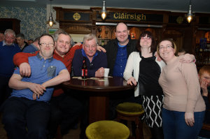 Pictured at the party were (L-R) Stephen Kernaghan, Nigel McClave, Owen Smyth, Darragh Sheridan, Teresa O'Brien and Ciara McAdam. ©Rory Geary/The Northern Standard