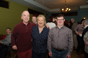Alan Malone, Mary White and Jamie Hughes at the Monaghan Arch Club party at the Monaghan Harps GFC. ©Rory Geary/The Northern Standard
