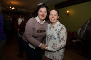 Julie Brannigan and Jayne McEntee at the Monaghan Arch Club party at the Monaghan Harps GFC. ©Rory Geary/The Northern Standard