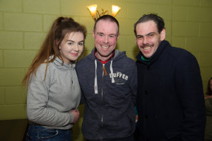 Shauna McDwyer, Ian Hall and Padraig Crudden at the Monaghan Atch Club party at the Monaghan Harps GFC. ©Rory Geary/The Northern Standard
