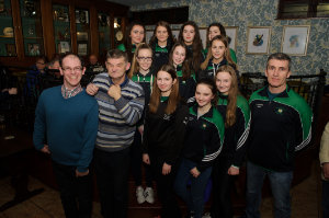 Some of the members of the Monaghan Harps GFC U-16 team, who attended the Monaghan Arch Club party at the club last week, with Brendan Haughey and Hugh Coyle, Monaghan Arch Club and Tommy Reilly, team mentor. ©Rory Geary/The Northern Standard