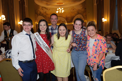 At the Monaghan Arch Club Summer Party were (L-R) Freddie Curtis, Monaghan Rose of Tralee Maria Murnaghan, Ian Hall, Laura Bell, Katie and Zoe Murnaghan. ©Rory Geary/The Northern Standard