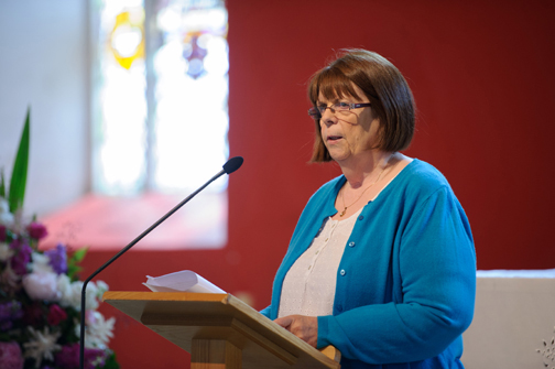 Eileen McKenna from the Clogher Historical Society, speaking about Archbishop John Joseph Hughes and his life at the event to unveil a plaque in his honour at St Macartan's Church, Augher. ©Rory Geary/The Northern Standard