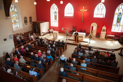 Archbishop Eamon Martin, Archbishop of Armagh and Primate of All-Ireland, speaking in St Macartan's Church, Augher, at the event to unveil a plaque in honour of Archbishop John Joseph Hughes. ©Rory Geary/The Northern Standard