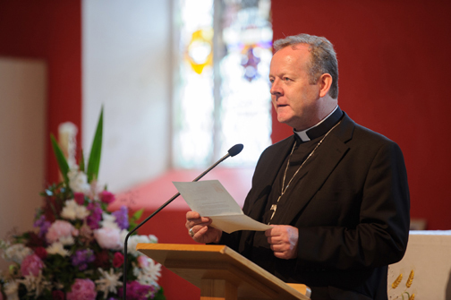 Archbishop Eamon Martin, Archbishop of Armagh and Primate of All-Ireland, reading a letter from Archbishop of New York Timothy M Dolan, at the event at St Macartan's Church, Augher, to unveil a plaque in honour of Archbishop John Joseph Hughes. ©Rory Geary/The Northern Standard