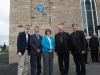 Pictured at the event to unveil a plaque in honour of Archbishop John Joseph Hughes, were (L-R) Daniel J Lawton,  American Consul General to Northern Ireland, Chris Spurr, chairman, Ulster History Circle, Eileen McKenna, Clogher Historical Society, Archbishop Eamon Martin, Archbishop of Armagh and Primate of All-Ireland Monsignor Joseph McGuinness, Diocesan Administrator of the Diocese of Clogher and Fr Noel McGahan. ©Rory Geary/The Northern Standard