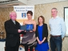 At the presentation to Denise Toner, Clones AC were (L-R) Fr Paudge Corrigan, Denise Toner, Rose Lambe and Chairman of the Monaghan County Athletics Board, Alan Clarke. ©Rory Geary/The Northern Standard