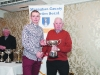 Patsy Kelly, right, making the presentation of the Cup for the Senior Mens Road League to winner, Conor Duffy, Glaslough Harriers. ©Rory Geary/The Northern Standard