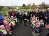 Minister for Culture, Heritage and Gaeltacht Heather Humphreys TD, centre, cutting a ribbon to officially open the Ballybay Town Park with some of the children from the Ballybay Community Creche and members of the Ballybay Clones Municipal District. ©Rory Geary/The Northern Standard