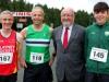 From left; Alan Clarke, Brian Peppard, Caoimhghin Ó Caolain and Orán Ó Caolain, at the County League, Wetlands Running Club 5k run, held in Ballybay. Photo: Jimmy Walsh