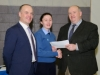 Mr Paddy Flood, right, director of schools, Cavan and Monaghan Education and Training Board, making the presentation of the first Junior Cycle Profile of Achievements, Niamh Arthurs, from Beech Hill College. Also included is Principal Patrick McArdle. ©Rory Geary/The Northern Standard