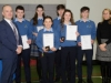 Mr Patrick McArdle and Ms Barbara Gleeson, President's Award Leader, with the Beech Hill College students who were presented with their Gaisce Awards. ©Rory Geary/The Northern Standard