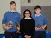 Suzanne McGinnity, making the presentation of the 1st Year Handballer of the Year Awards to Denis Juozaitis, left and Oran Maguire. ©Rory Geary/The Northern Standard