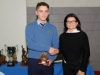 Suzanne McGinnity, making the presentation of the 2nd and 3rd Handballer of the Year Runner-Up Award to Davidus Kalakite. The winner was Jakub Szcup. ©Rory Geary/The Northern Standard