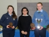 Suzanne McGinnity, making the presentation of the Senior Girl Handballer of the Awards to Cliodhna Mc Ardle, right and Nicola Boylan. ©Rory Geary/The Northern Standard