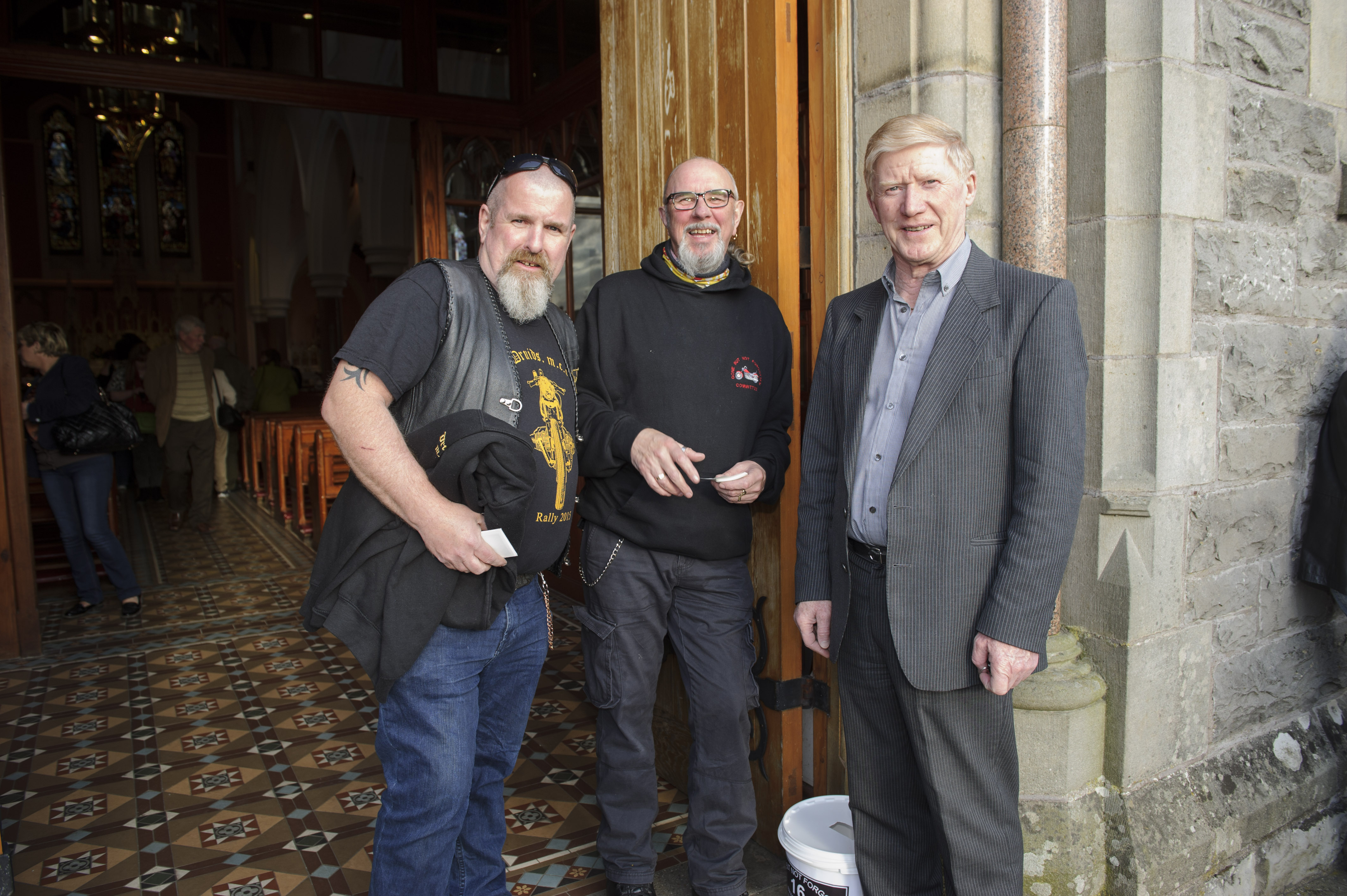 Martin Cross, Vinney West and Fr Dick Mohan at the Gone But Not Forgotten Bikers Mass in Clones last Friday. ©Rory Geary/The Northern Standard