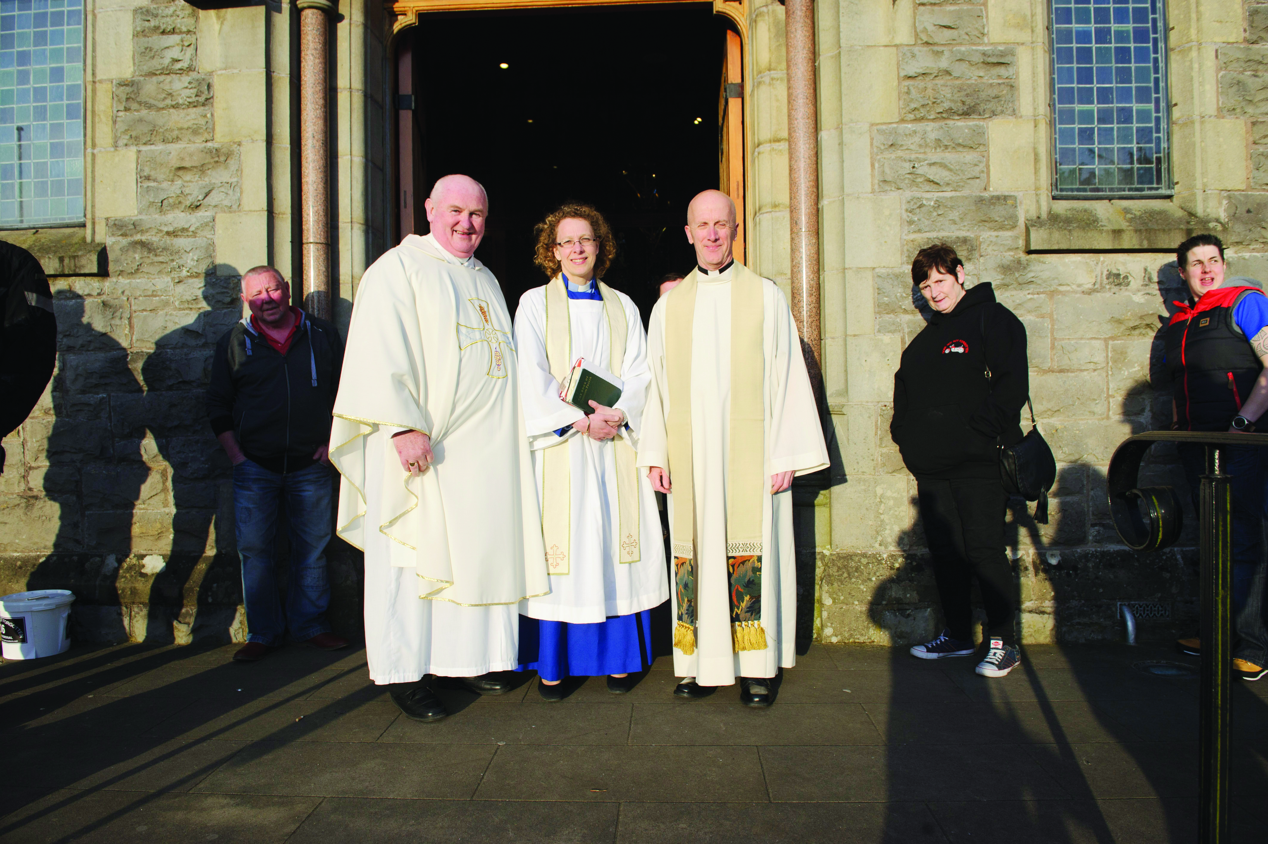 Celebrants for the Gone But Not Forgotten Bikers Mass, (L-R) Fr John Kierans, Archdeacon Helen Steed and Fr Tony Conlon. ©Rory Geary/The Northern Standard