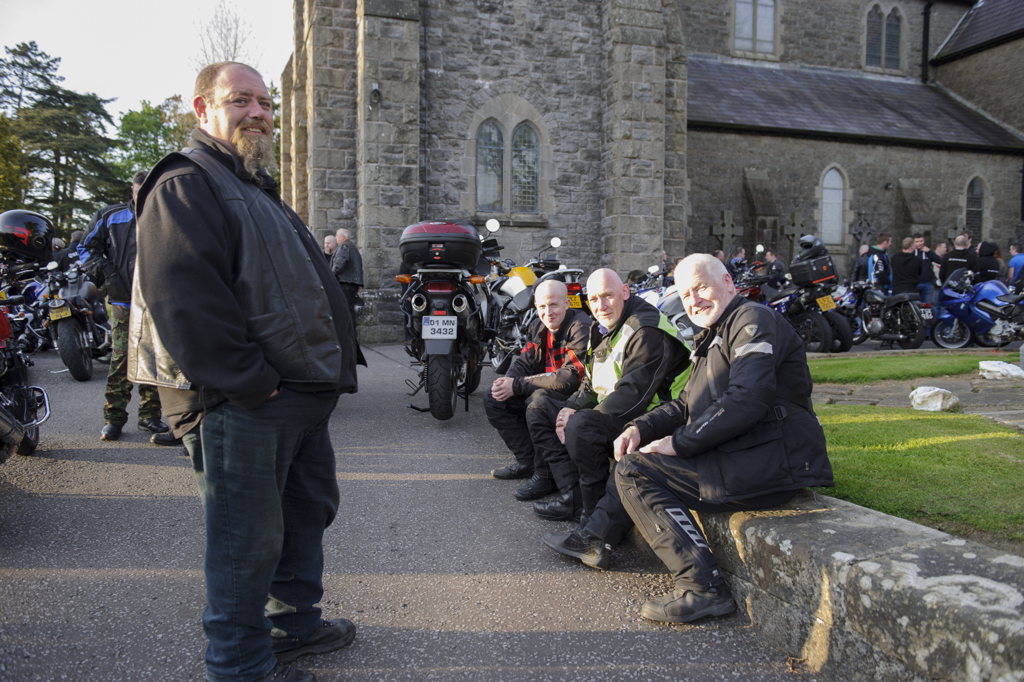 At the Gone But Not Forgotten Bikers Mass were (L-R) Darren Brady, Shane McMahon, Mickey Beggan and Macartan McMahon. ©Rory Geary/The Northern Standard