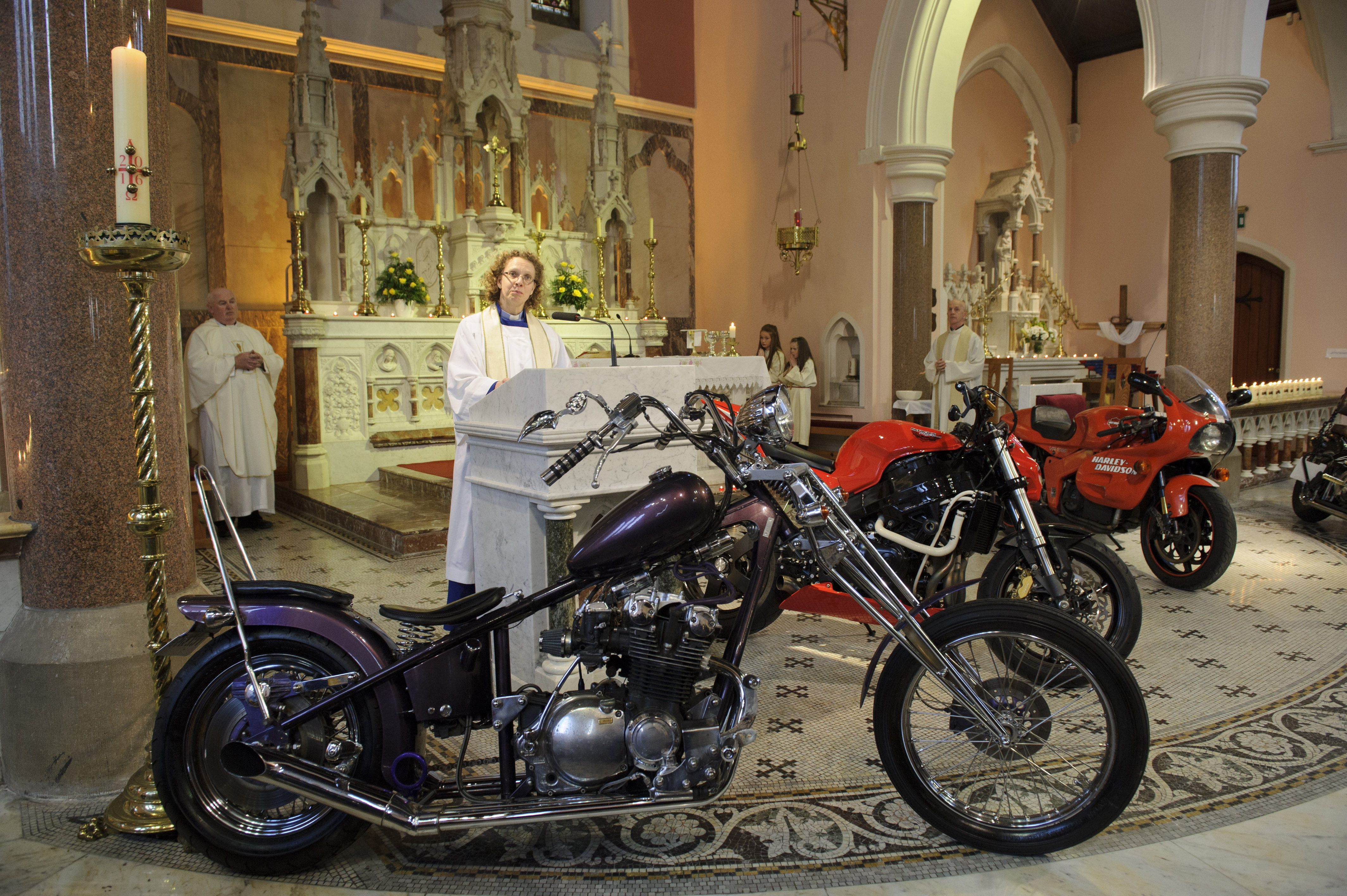 Archdeacon Helene Steed speaking at the Gone But Not Forgotten Bikers Mass. ©Rory Geary/The Northern Standard