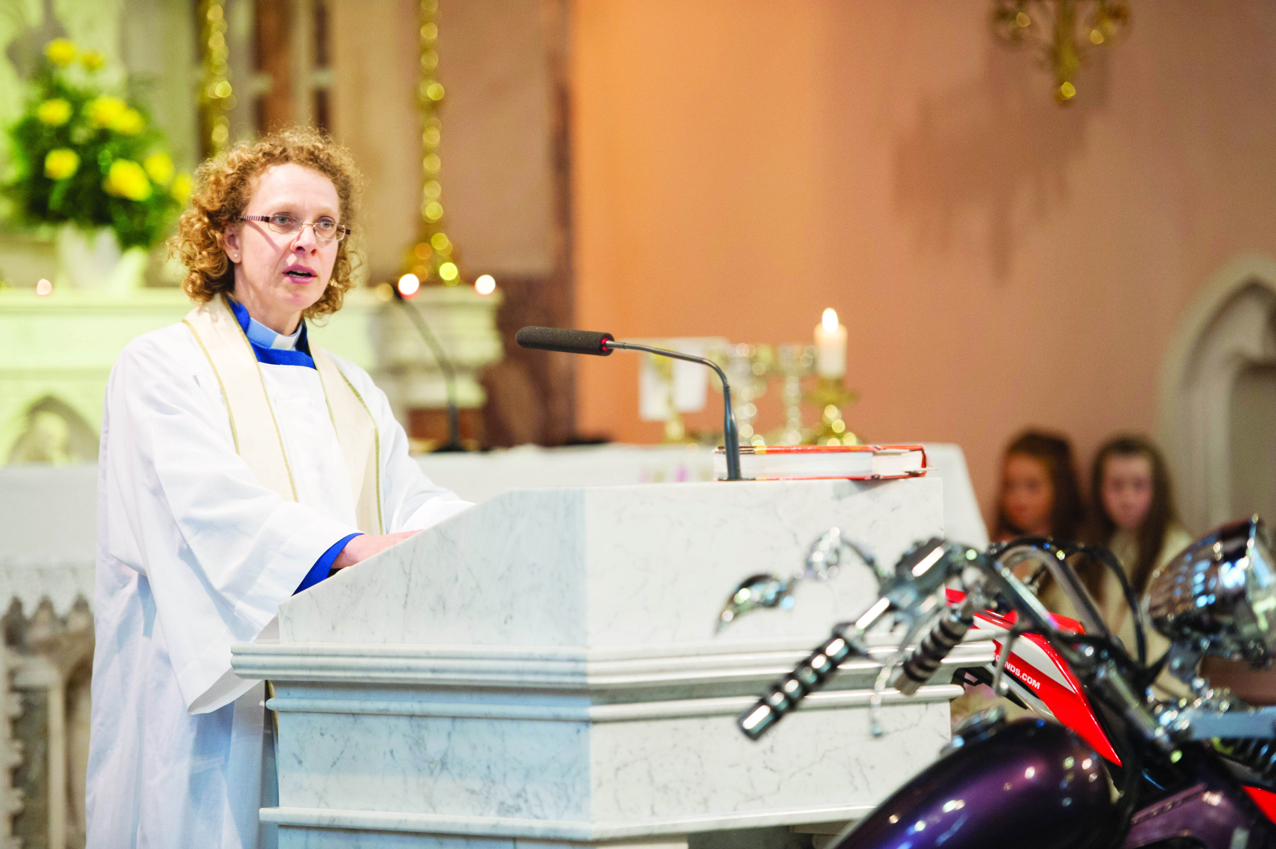 Archdeacon Helen Steed speaking at the Gone But Not Forgotten Bikers Mass. ©Rory Geary/The Northern Standard