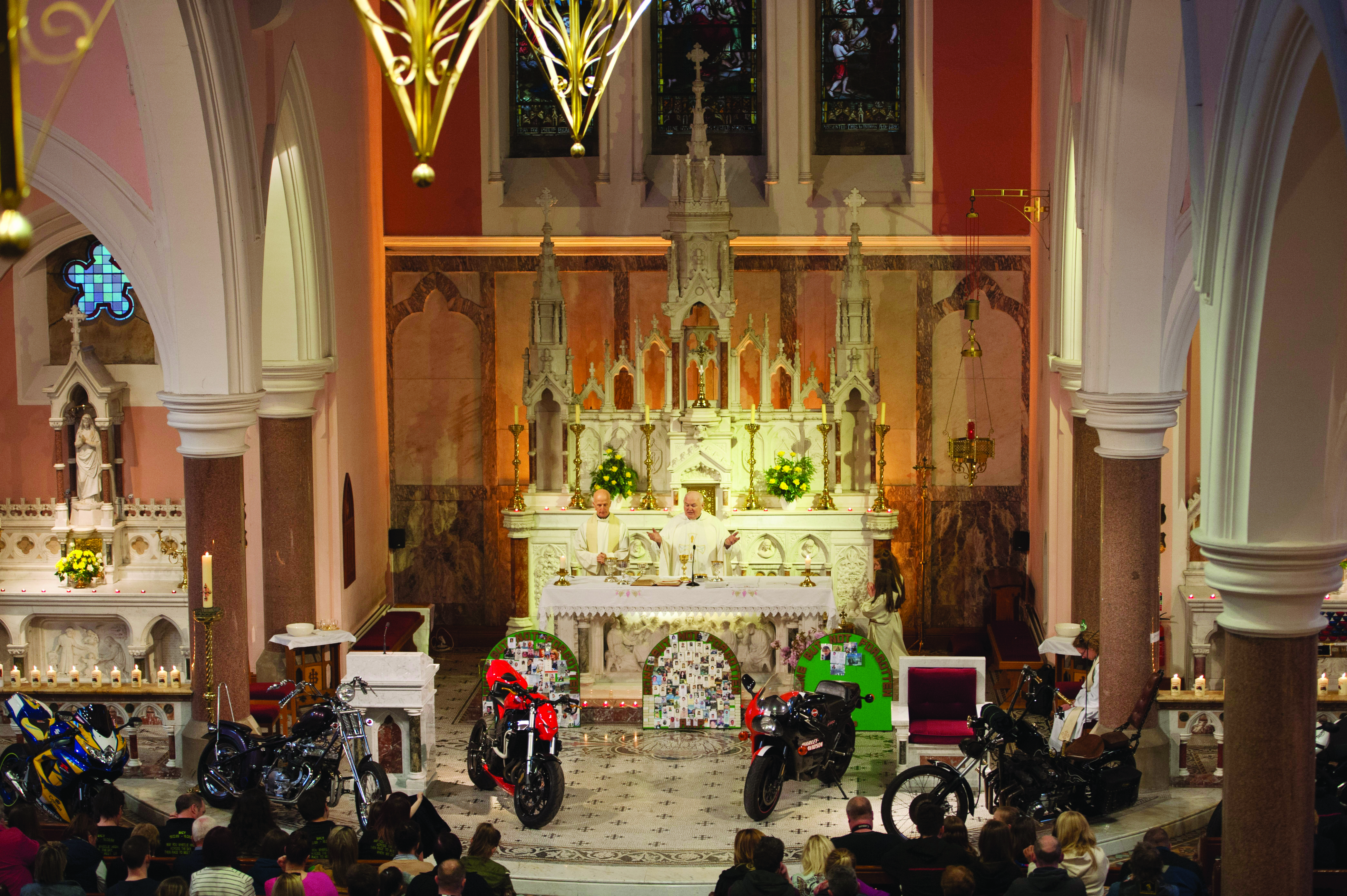 Fr John Kierans celebrating the Gone But Not Forgotten Bikers Mass, last Friday. ©Rory Geary/The Northern Standard