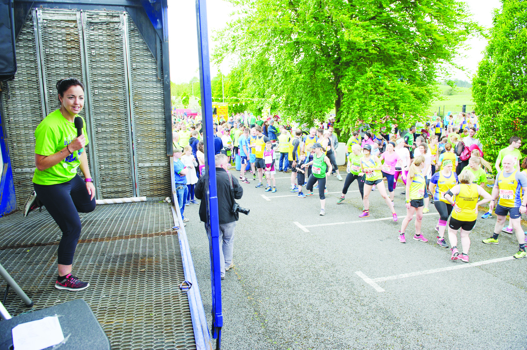 Christine McMahon getting the runners warmed up for the Blackwater 10k. ©Rory Geary/The Northern Standard