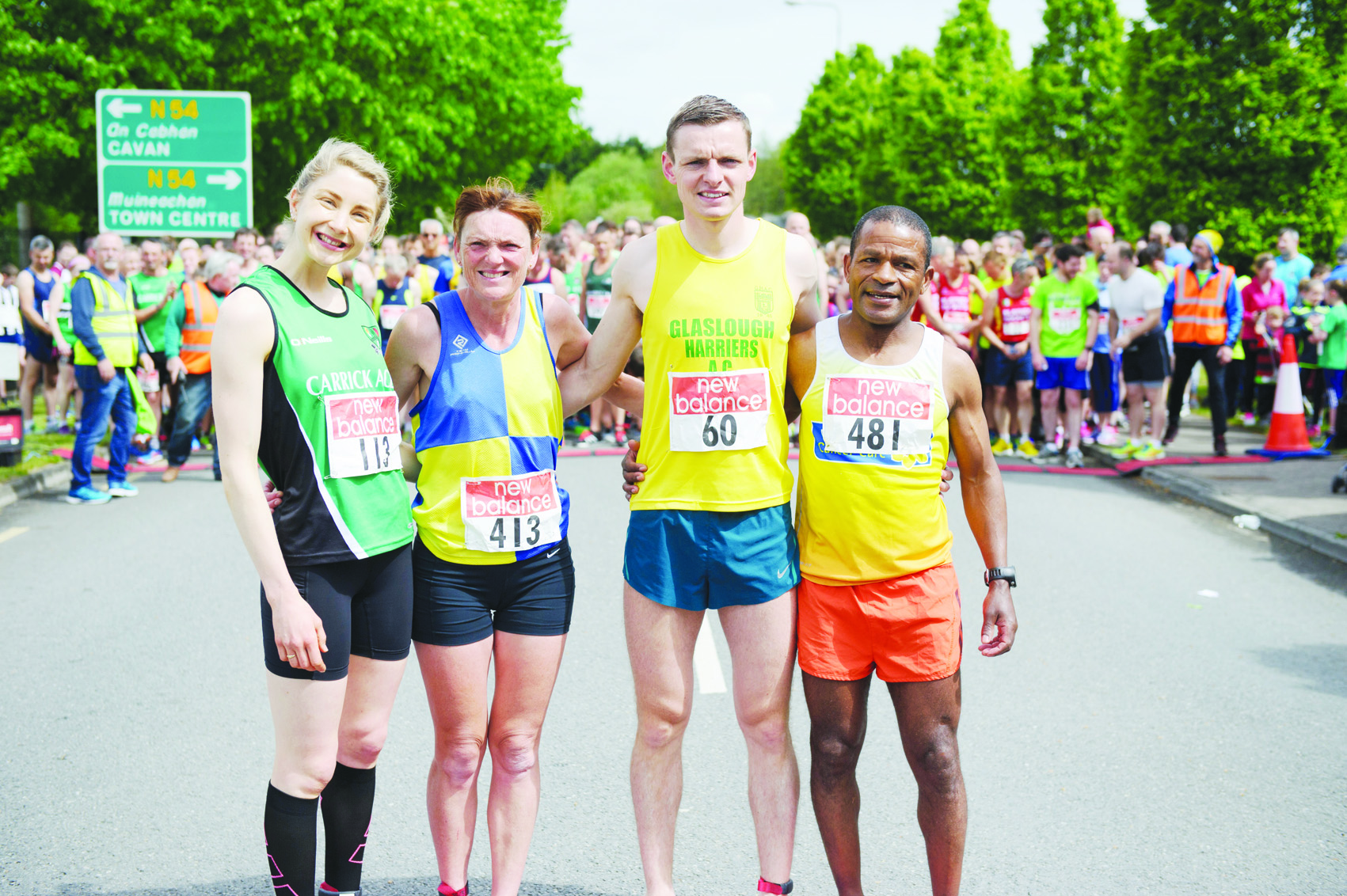 Some of the former winners of the Blackwater 10k at the 10th anniversary run were (L-R) Anne Linden, Donna Evanes, Conor Duffy and Delfin Pimentel. ©Rory Geary/The Northern Standard